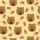 Modello senza cuciture di vettore con gli orsi bruni e le zampe svegli illustrazione di stock