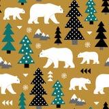 Modello senza cuciture di vettore con gli orsi polari e la decorazione geometrica royalty illustrazione gratis