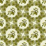 Modello senza cuciture di vettore con i brunch verde oliva disegnati a mano Fondo verde oliva Immagini Stock Libere da Diritti