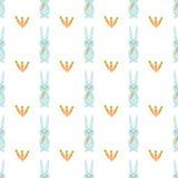 Modello senza cuciture di vettore con i conigli e le carote svegli Tema felice di Pasqua illustrazione di stock