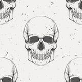 Modello senza cuciture di vettore con i crani umani Illustrazione Vettoriale