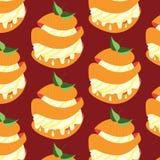 Modello senza cuciture di vettore con i dessert dell'arancia dolce Fotografie Stock