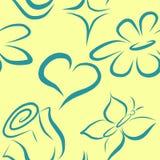 Modello senza cuciture di vettore con i fiori ed il cuore royalty illustrazione gratis