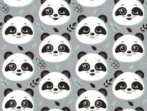 Modello senza cuciture di vettore con i fronti e le foglie svegli del panda royalty illustrazione gratis