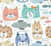 Modello senza cuciture di vettore con i fronti variopinti disegnati a mano del gatto ed i pesci grafici royalty illustrazione gratis