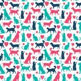 Modello senza cuciture di vettore con i gatti ed i cani royalty illustrazione gratis