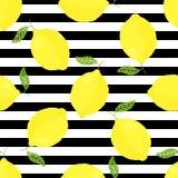 Modello senza cuciture di vettore con i limoni e le bande Illustrazione Vettoriale