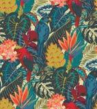 Modello senza cuciture di vettore con i pappagalli tropicali con i fiori e le foglie di palma esotici illustrazione di stock