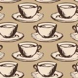 Modello senza cuciture di vettore con i tazza da the royalty illustrazione gratis