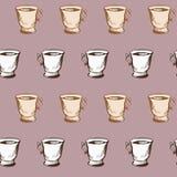 Modello senza cuciture di vettore con i tazza da the illustrazione di stock