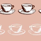 Modello senza cuciture di vettore con i tazza da the illustrazione vettoriale