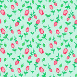 Modello senza cuciture di vettore con i tulipani e le foglie verdi rosa delicati sul fondo leggero della menta Fondo senza cucitu Fotografie Stock