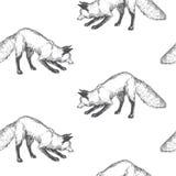 Modello senza cuciture di vettore con il carattere animale sveglio Disegnato a mano Immagine Stock