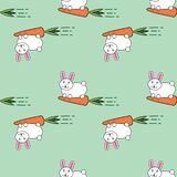 Modello senza cuciture di vettore con il coniglio e le carote di coniglietto adorabili sveglio del fumetto divertenti illustrazione vettoriale
