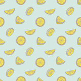 Modello senza cuciture di vettore con il limone disegnato a mano Fotografia Stock Libera da Diritti