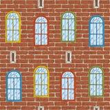 Modello senza cuciture di vettore con il muro di mattoni ed il colore Windows Immagine Stock Libera da Diritti