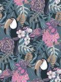 Modello senza cuciture di vettore con il tucano dell'uccello tropicale con i fiori e le foglie di palma esotici royalty illustrazione gratis