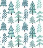 Modello senza cuciture di vettore con la foresta dell'abete di inverno royalty illustrazione gratis