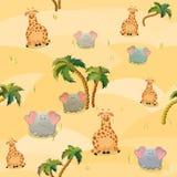 Modello senza cuciture di vettore con la giraffa, gli elefanti e le palme Personaggio dei cartoni animati grasso sveglio Il conce royalty illustrazione gratis