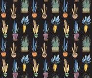 Modello senza cuciture di vettore con la raccolta delle piante della casa in vasi royalty illustrazione gratis