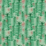 Modello senza cuciture di vettore con le foglie ed i fiori tropicali dell'orchidea di schizzi della mano nei verdi e nel rosa royalty illustrazione gratis