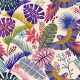 Modello senza cuciture di vettore con le foglie di palma ed i pappagalli Carta da parati tropicale di vettore Contesto botanico v Immagine Stock Libera da Diritti