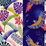 Modello senza cuciture di vettore con le foglie di palma ed i pappagalli Carta da parati tropicale verticale Contesto botanico va Fotografia Stock