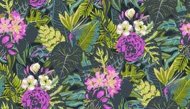 Modello senza cuciture di vettore con le foglie di palma tropicali, piante della giungla, fiori esotici illustrazione di stock