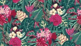 Modello senza cuciture di vettore con le foglie di palma tropicali, piante della giungla, fiori esotici illustrazione vettoriale