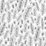 Modello senza cuciture di vettore con le foglie verde oliva, rami illustrazione di stock