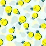 Modello senza cuciture di vettore con le lampadine piane Fondo semplice con la lampadina gialla Progettazione minimalista di vett Immagine Stock