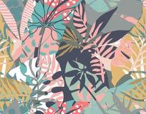 Modello senza cuciture di vettore con le piante tropicali e le strutture astratte disegnate a mano immagini stock libere da diritti