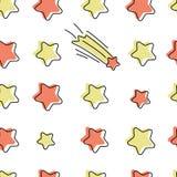 Modello senza cuciture di vettore con le stelle del fumetto illustrazione di stock