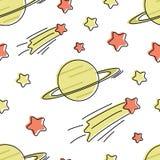 Modello senza cuciture di vettore con le stelle ed il pianeta del fumetto illustrazione di stock