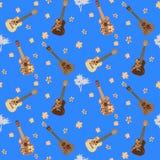 Modello senza cuciture di vettore con le ukulele delle chitarre hawaiane illustrazione di stock