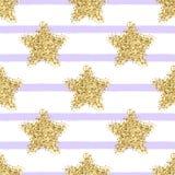 Modello senza cuciture di vettore con lo stelle e strisce di scintillio dell'oro royalty illustrazione gratis