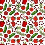 Modello senza cuciture di vettore con Mini Cucumbers, i pomodori rossi, il peperone dolce e le fette del pomodoro Insalata di ver Fotografia Stock Libera da Diritti
