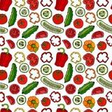 Modello senza cuciture di vettore con Mini Cucumbers, i pomodori rossi, il peperone dolce e le fette del pomodoro Insalata di ver Immagini Stock
