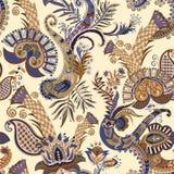 Modello senza cuciture di vettore con Paisley ed i fiori decorativi Illustrazione variopinta per il tessuto, tessuto, web, copert royalty illustrazione gratis