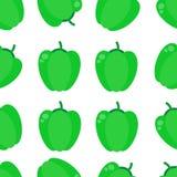Modello senza cuciture di vettore con paprica verde Illustrazione verde senza cuciture di vettore del fondo della paprica illustrazione di stock