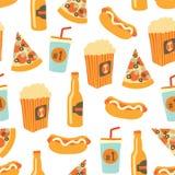 Modello senza cuciture di vettore degli alimenti a rapida preparazione Lo spuntino ed il fondo delle bevande con la pizza di tira illustrazione vettoriale