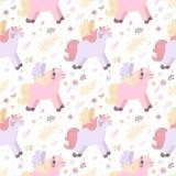 Modello senza cuciture di vettore degli unicorni (colori pastelli) Royalty Illustrazione gratis