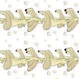 Modello senza cuciture di vettore dei bassotti tedeschi disegnati a mano Simboli del nuovo anno 2018 royalty illustrazione gratis
