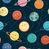 Modello senza cuciture di vettore dei pianeti per i bambini illustrazione vettoriale