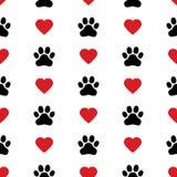 Modello senza cuciture di vettore del biglietto di S. Valentino del gattino della stampa del piede del cucciolo di amore del cuor illustrazione di stock