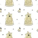 Modello senza cuciture di vettore del bulldog disegnato a mano Simboli del nuovo anno 2018 illustrazione vettoriale