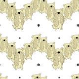 Modello senza cuciture di vettore del bulldog disegnato a mano Simboli del nuovo anno 2018 royalty illustrazione gratis