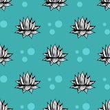 Modello senza cuciture di vettore del cactus Illustrazione succulente verde blu disegnata a mano del cactus di vettore Carta da p illustrazione di stock