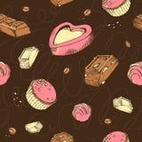 Modello senza cuciture di vettore del cioccolato colorato di schizzi Rotoli dolci, barre, lustrate, comfit, fave di cacao Lettere Fotografia Stock Libera da Diritti
