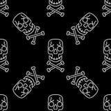 Modello senza cuciture di vettore del cranio sul nero, fondo bianco dei crani della caramella di Halloween, Immagini Stock